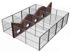 Indoor / Outdoor Dog Kennel Adjoining Building
